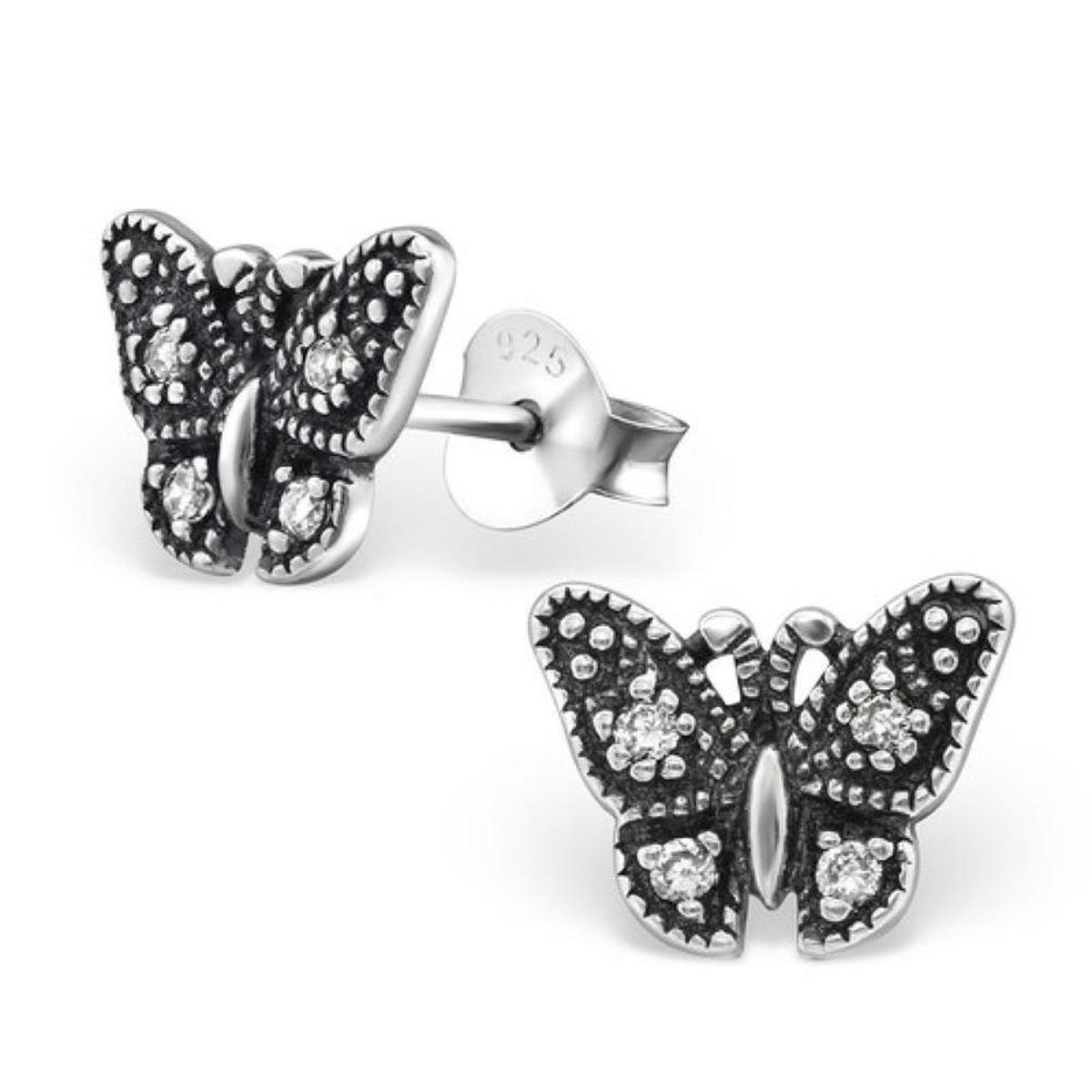 Boucles d'oreilles Papillon Antique Argent 925