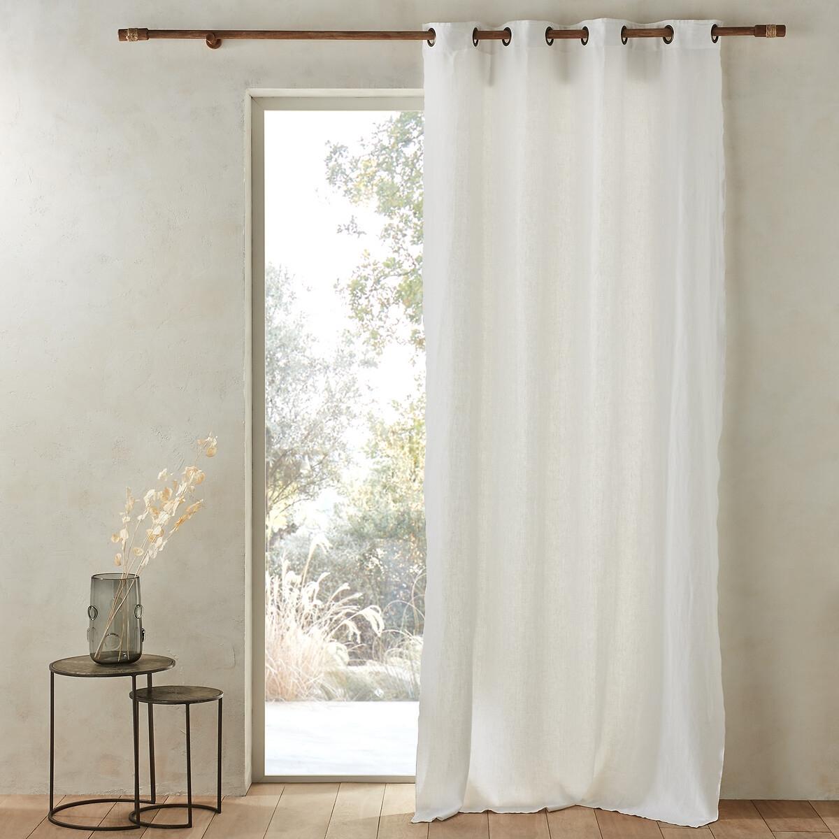 Штора LaRedoute 100 лен Romane 140 x 180 см белый штора для кухни izkomoda sh140iv001 белый 140 40 лен