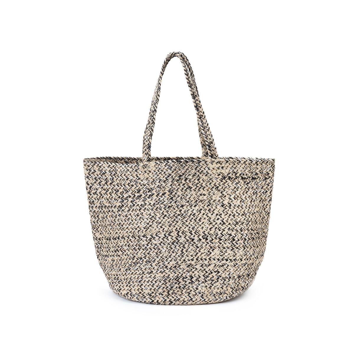 Корзина LaRedoute из джута с серебристой люрексовой нитью единый размер бежевый сумка шоппер laredoute из джута с надписью gypsy единый размер бежевый