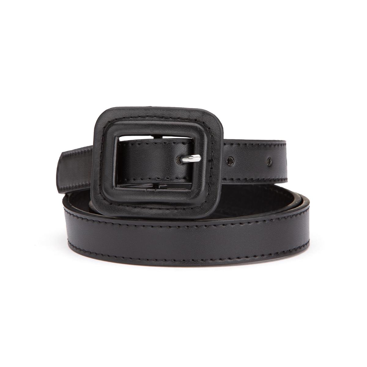 Cinturón con hebilla con revestimiento, rectangular