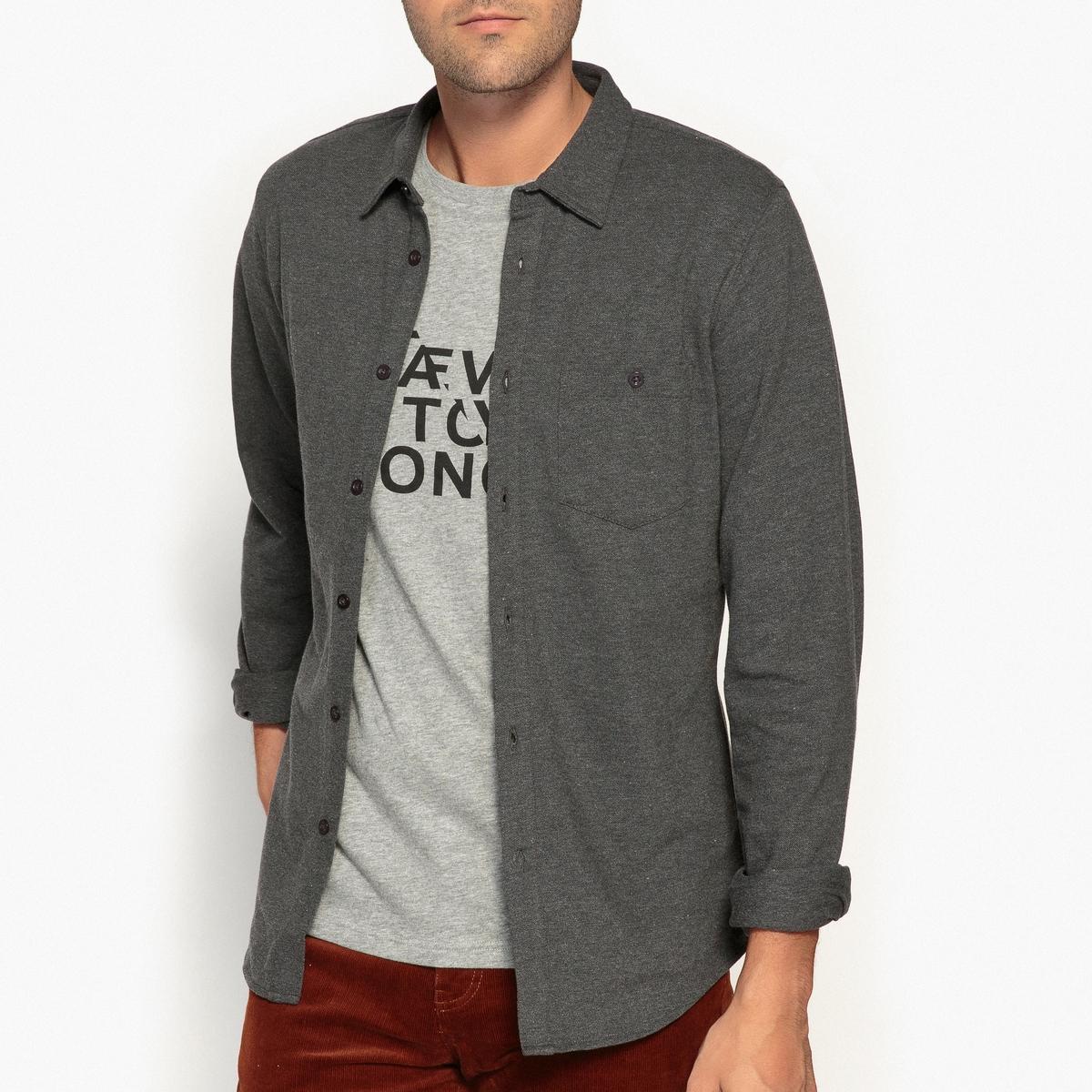 Рубашка-слим из трикотажа-пике, 100% хлопок