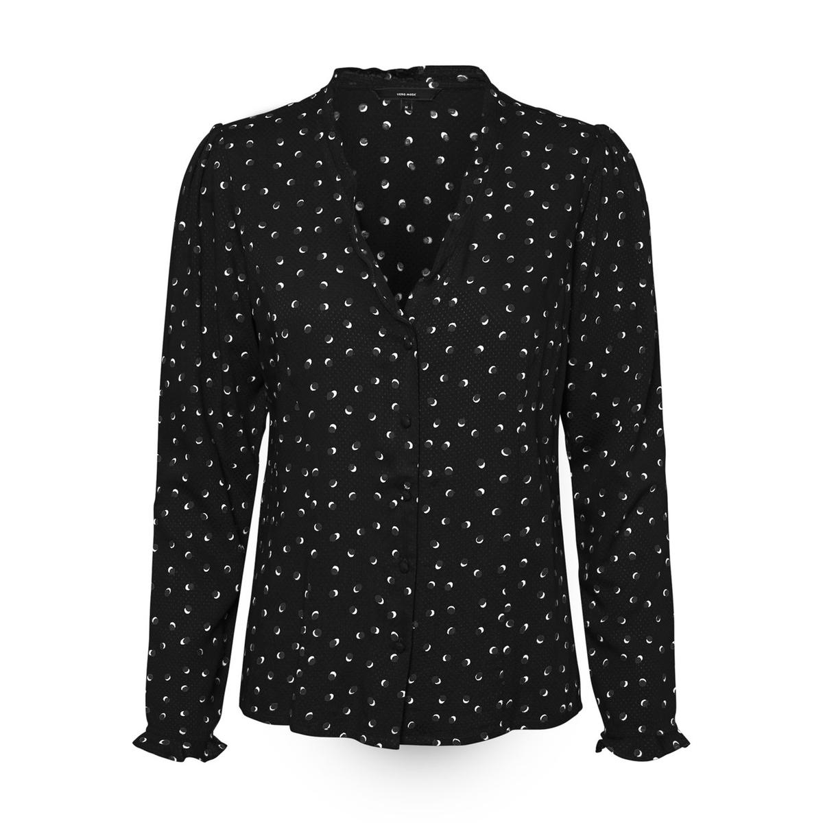 цена на Блузка La Redoute С графическим принтом V-образный вырез с длинными рукавами XS черный