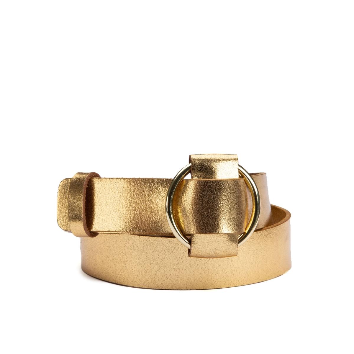 Cinturón de piel dorada