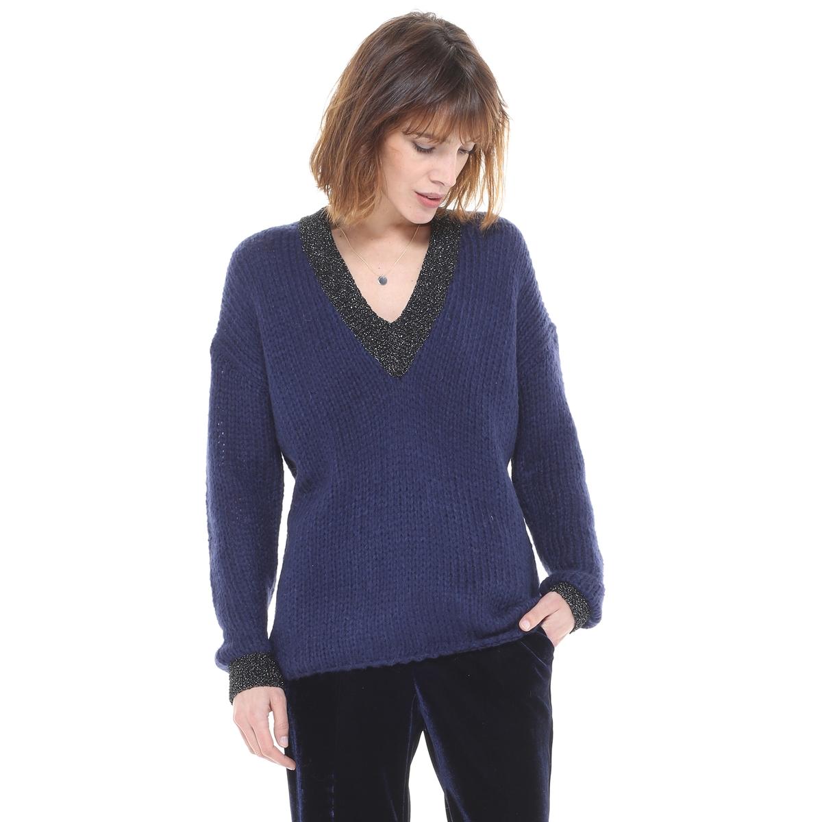 Пуловер с V-образным вырезом из плотного трикотажа пуловер с v образным вырезом v mevil