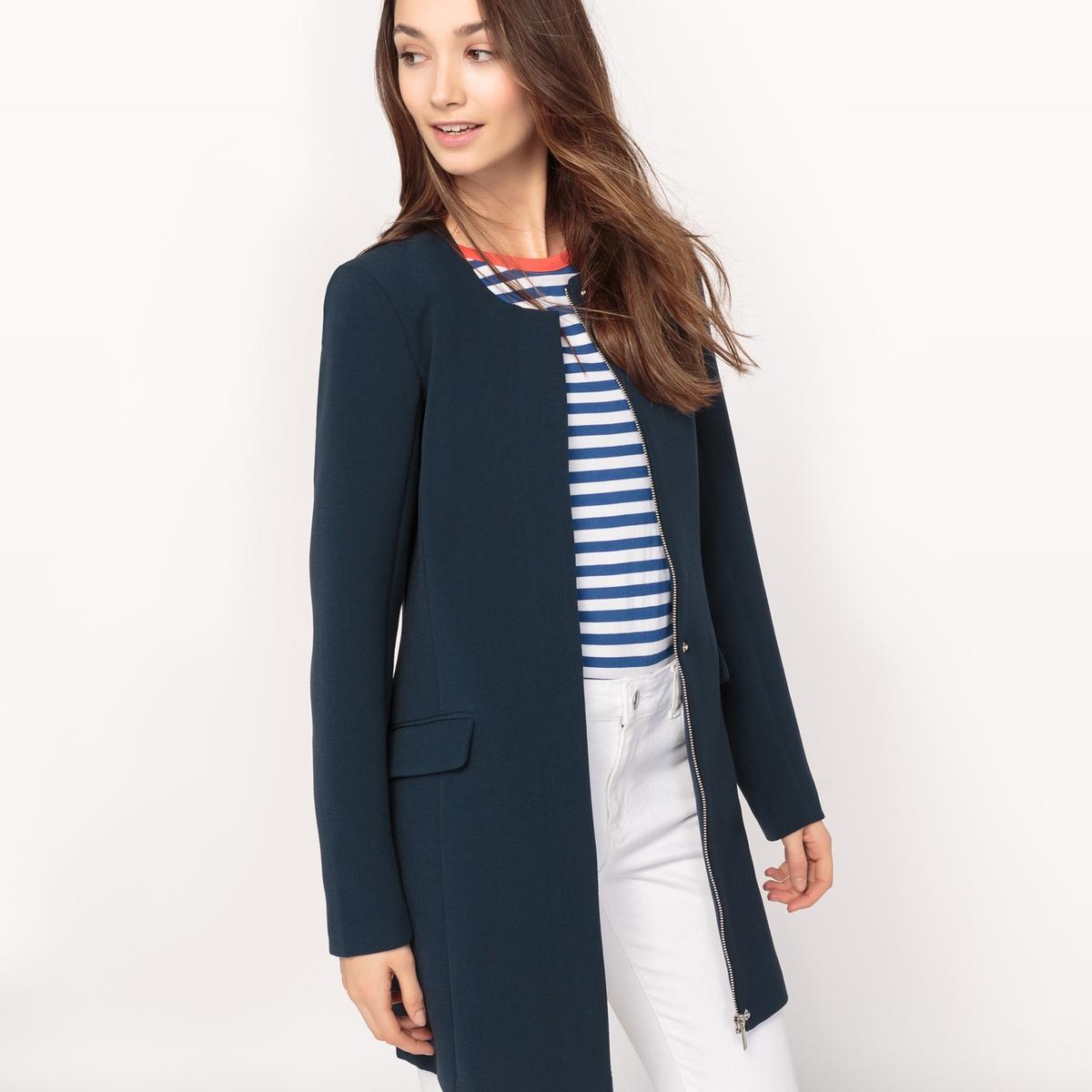 Пальто прямого покроя без воротника