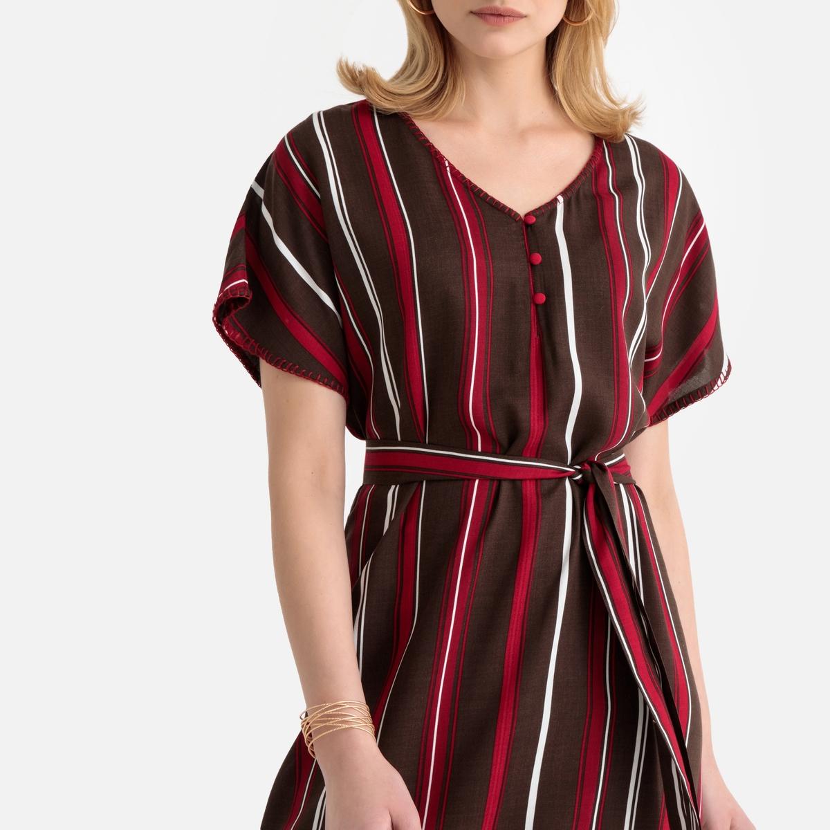 Платье La Redoute Струящееся в полоску длина миди 50 (FR) - 56 (RUS) другие платье миди la redoute с запахом струящееся m синий