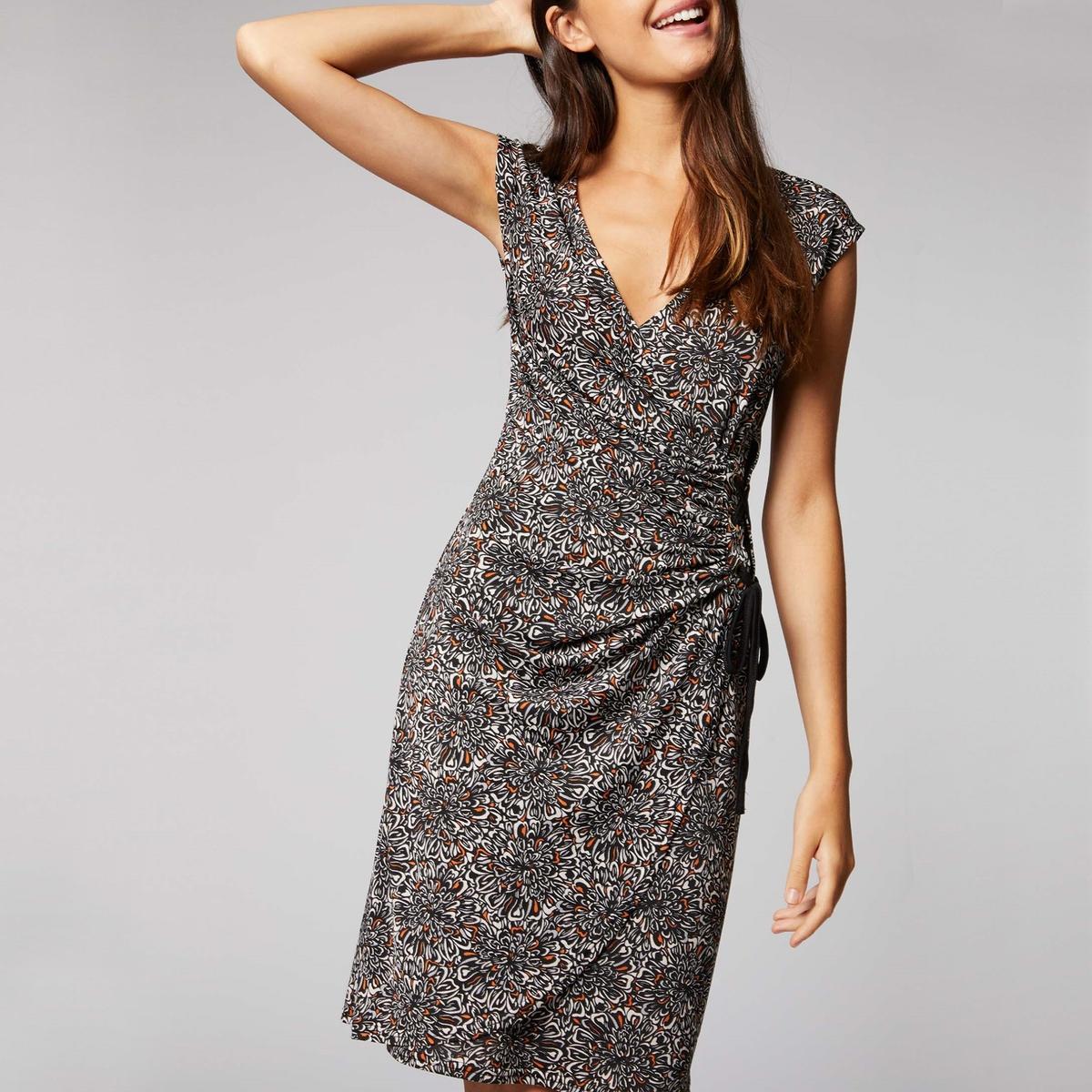 Платье с запахом, без рукавов, с принтом платье с запахом vestido negro maqi