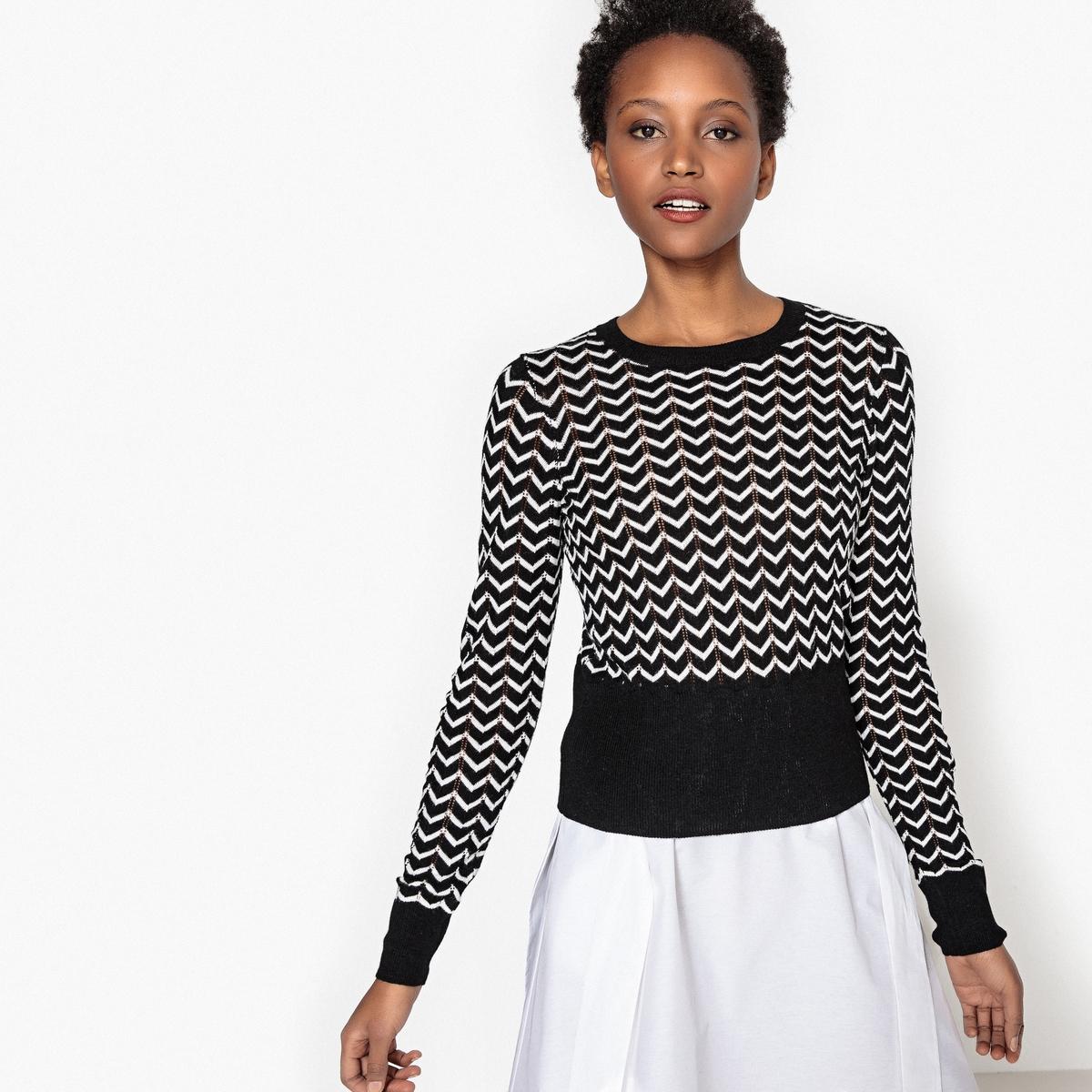 Sweter w zygzaki z okrągłym dekoltem i długim rękawem