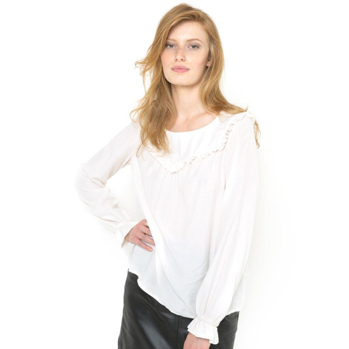 Блузка с воланами и длинными рукавамиБлузка из 100% вискозы. Манишка и низ рукавов с воланами. Длина 65 см.<br><br>Цвет: слоновая кость<br>Размер: 42 (FR) - 48 (RUS)