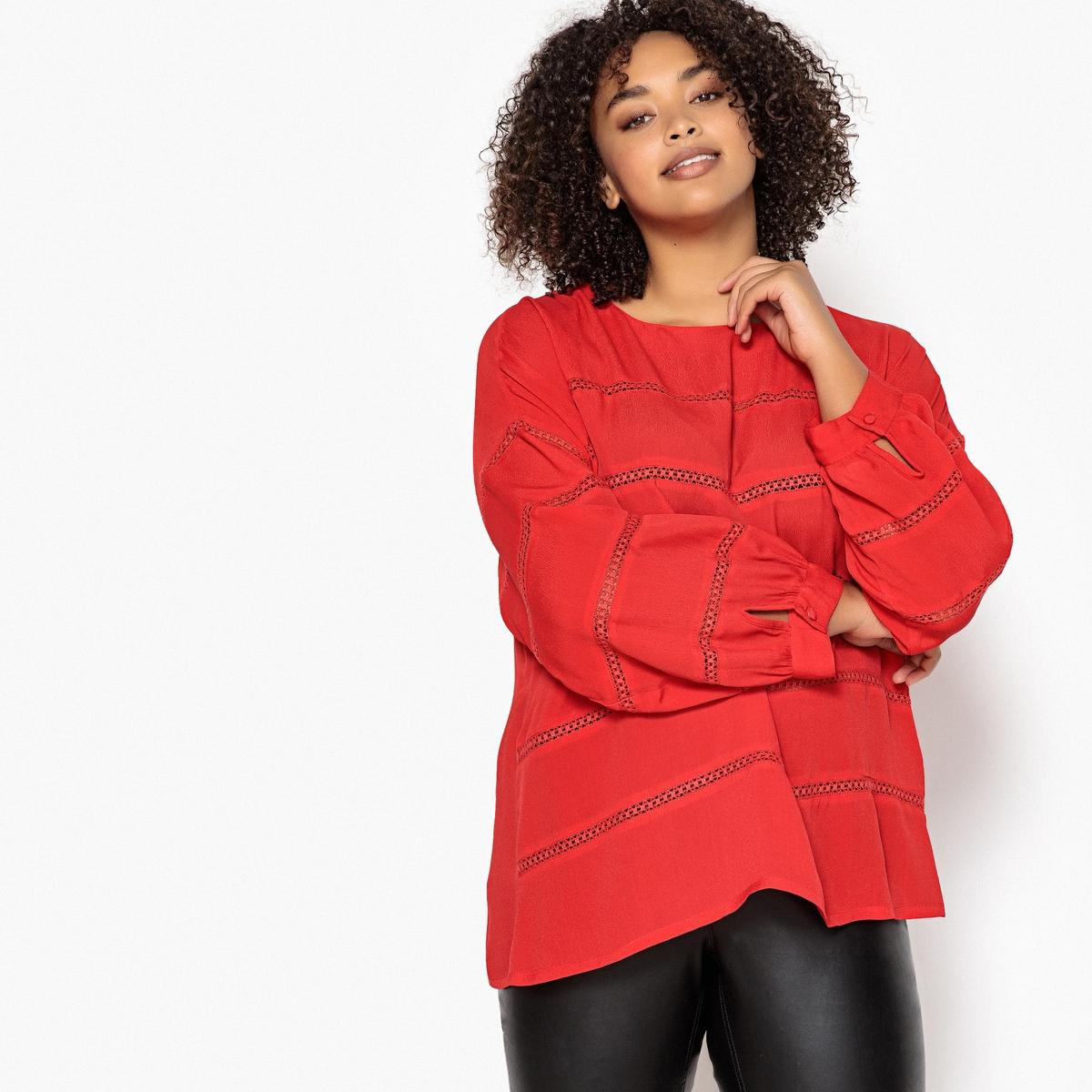 Блузка La Redoute С круглым вырезом кружевными деталями и длинными рукавами 50 (FR) - 56 (RUS) красный блузка la redoute с круглым вырезом без рукавов 50 fr 56 rus черный