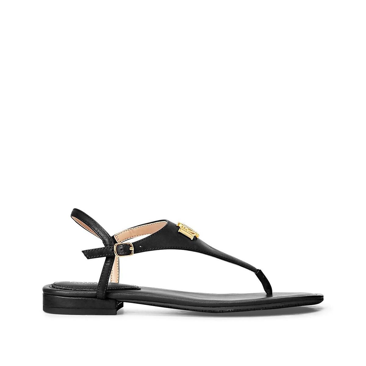 Сандалии LaRedoute С перемычкой из кожи на плоском каблуке 40 черный 12⠀storeez сандалии с перемычкой