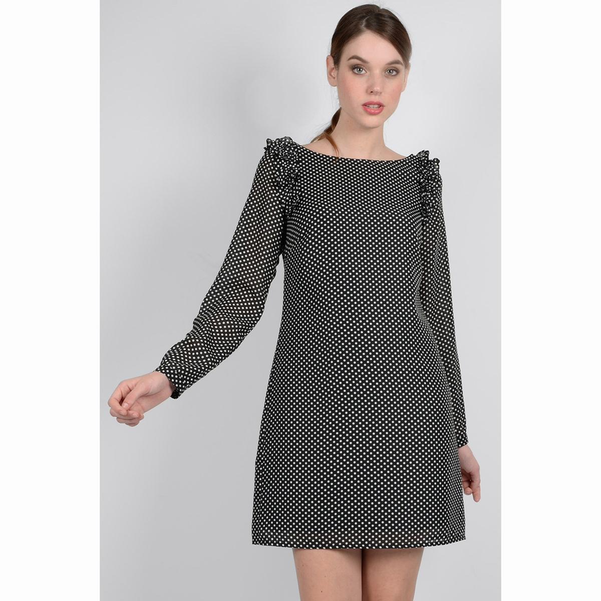 Платье в горошек с длинными рукавами цена