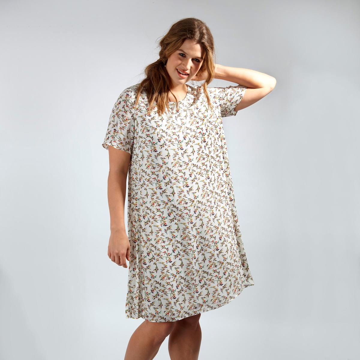ПлатьеПлатье с короткими рукавами KOKO BY KOKO. Длина до колен. Круглый вырез. 100% полиэстер<br><br>Цвет: набивной рисунок<br>Размер: 48 (FR) - 54 (RUS)