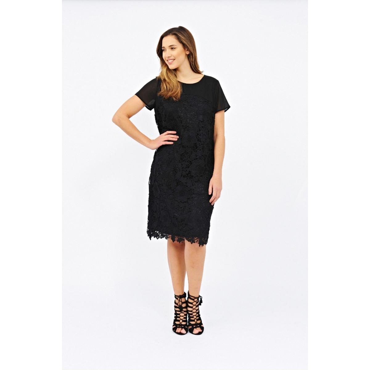 Платье с короткими рукавамиПлатье с короткими рукавами - LOVEDROBE. Элегантное кружево. Верх из однотонного материала. Длина ок.104 см. 100% полиэстера.<br><br>Цвет: черный<br>Размер: 58/60 (FR) - 64/66 (RUS).46 (FR) - 52 (RUS)