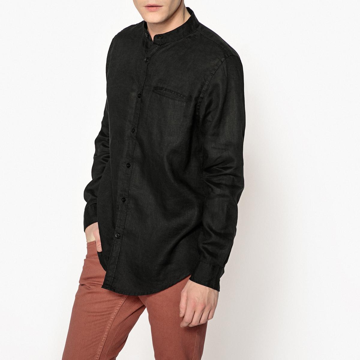 Рубашка прямого покроя со стоячим воротником из льна