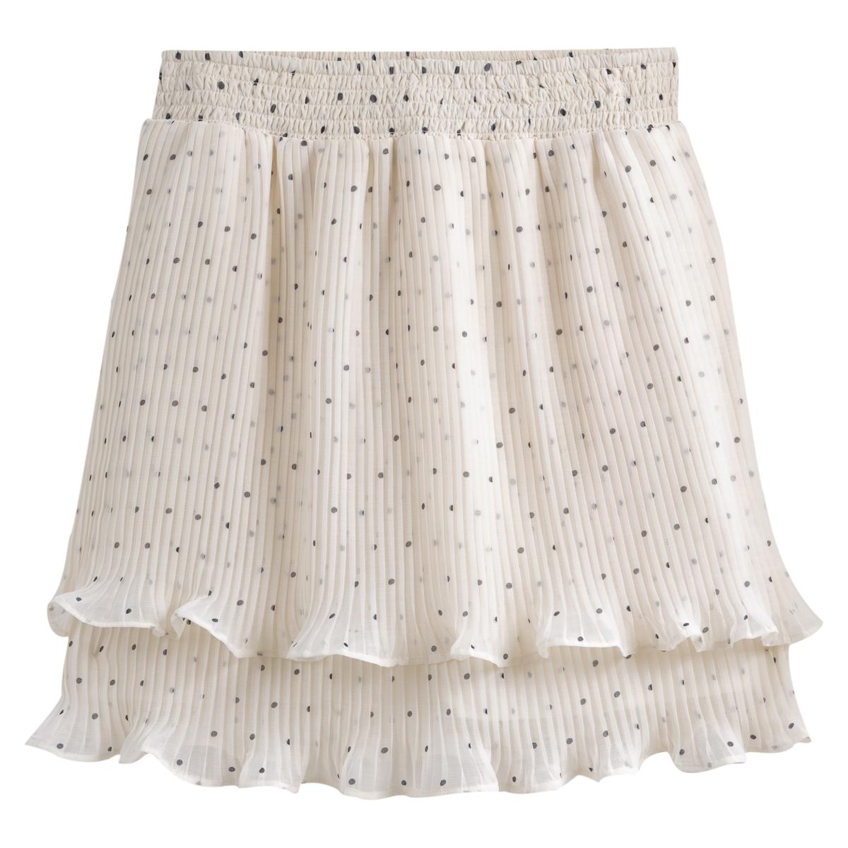 Falda con volante y estampado de lunares