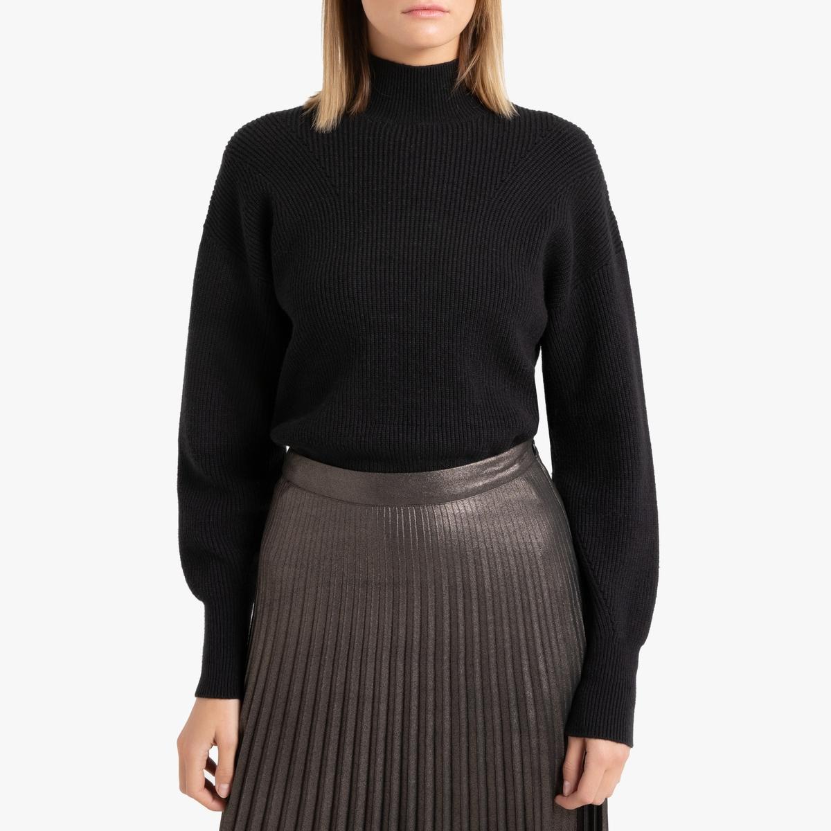 Пуловер La Redoute С воротником-стойкой из ребристого трикотажа S черный цена и фото