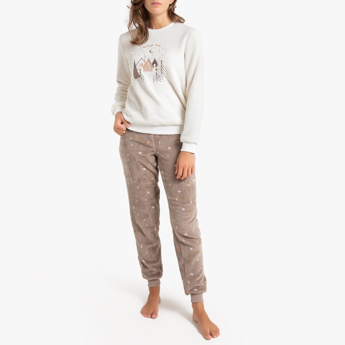 Pijama de manga larga estampado de terciopelo