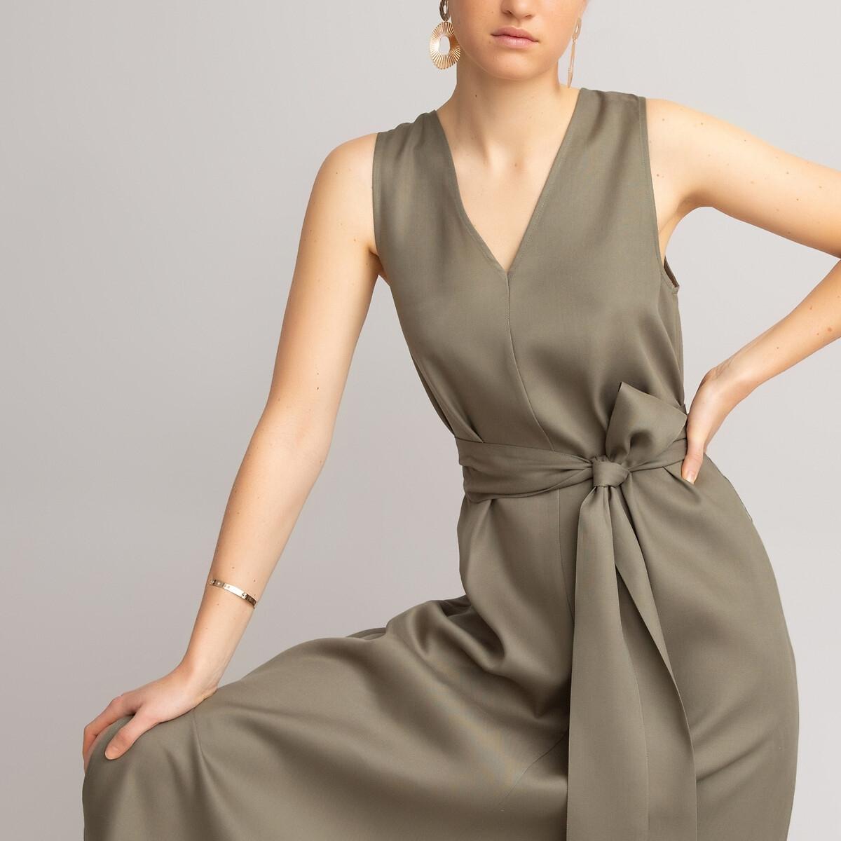 Платье LaRedoute Расклешенное из лиоцелла длинное без рукавов 44 зеленый