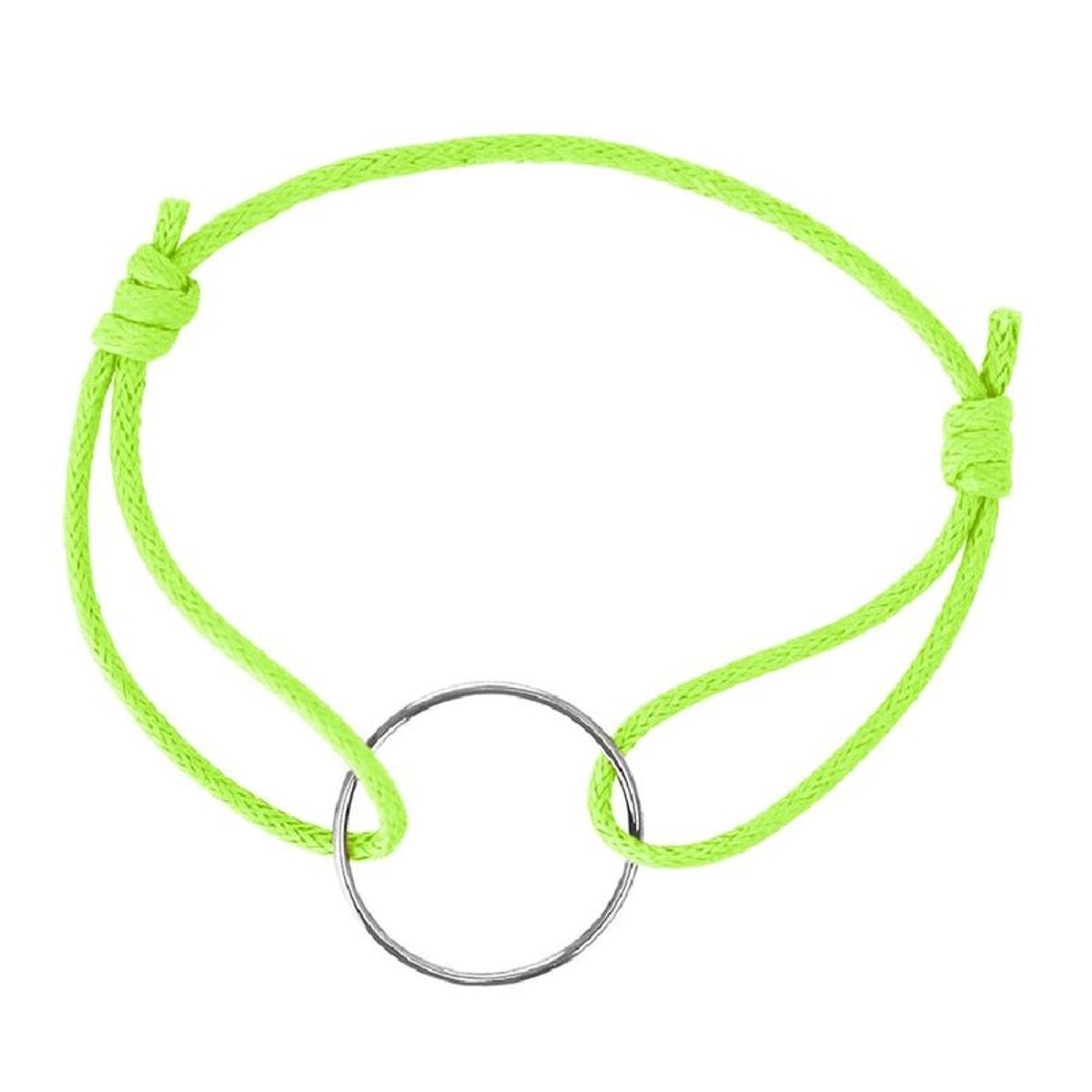 Bracelet Cordon Vert Pomme Longueur réglable Anneau Argent 925