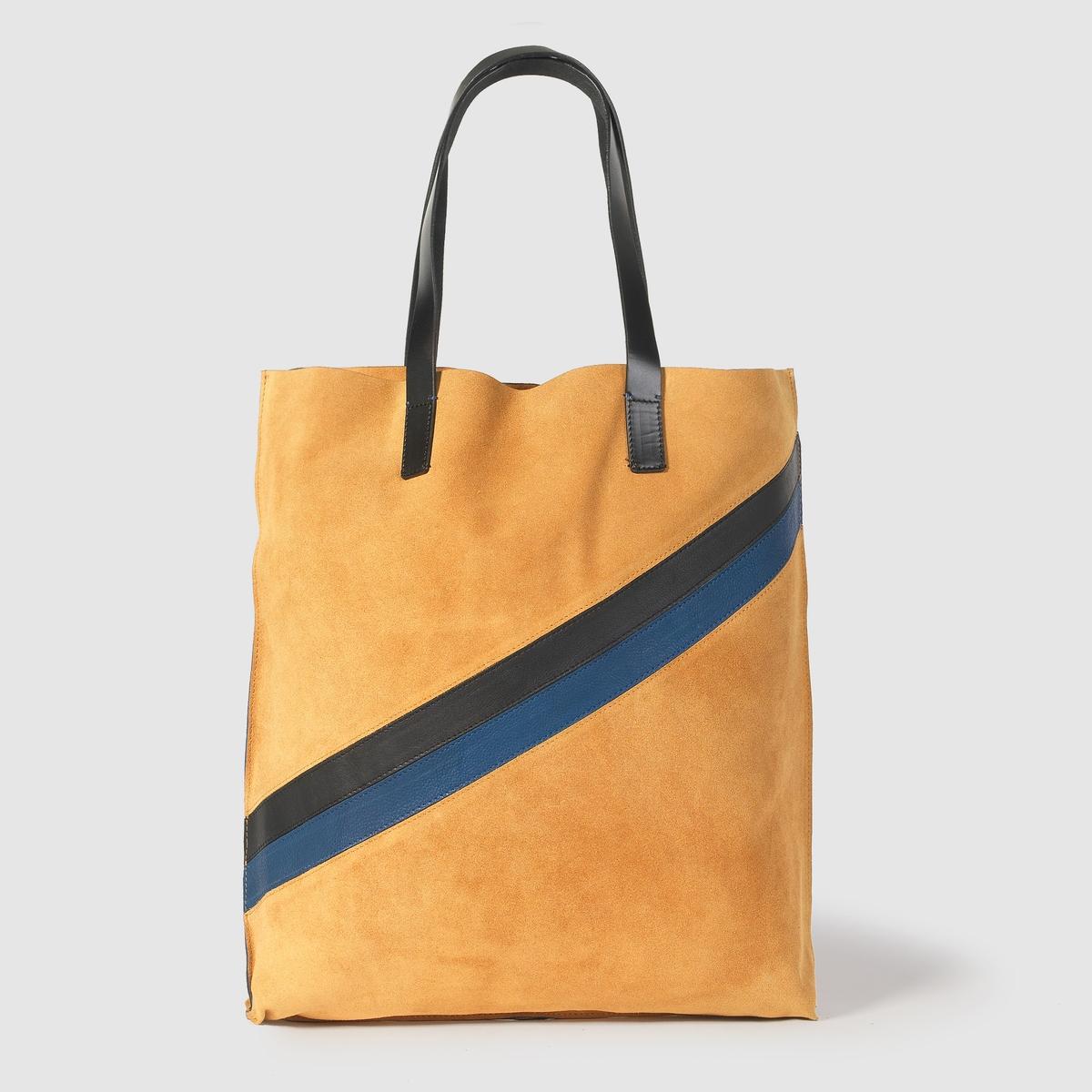 Сумка из невыделанной кожиОригинальная сумка из невыделанной кожи, R Essentiel.Идеальная сумка для роскошного шопинга! Состав и описаниеМатериал  верха: невыделанная кожа.                          Внутренний материал: без подкладки.Марка: R Essentiel.Размер: 36x41x5 см.Кожаные ручки.<br><br>Цвет: темно-бежевый<br>Размер: единый размер