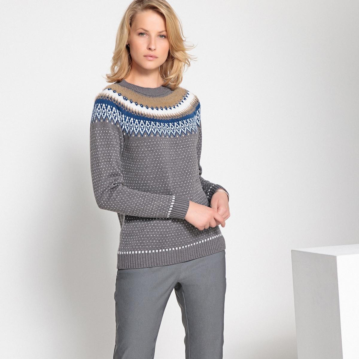 Пуловер жаккардовый крупной вязки с круглым вырезом
