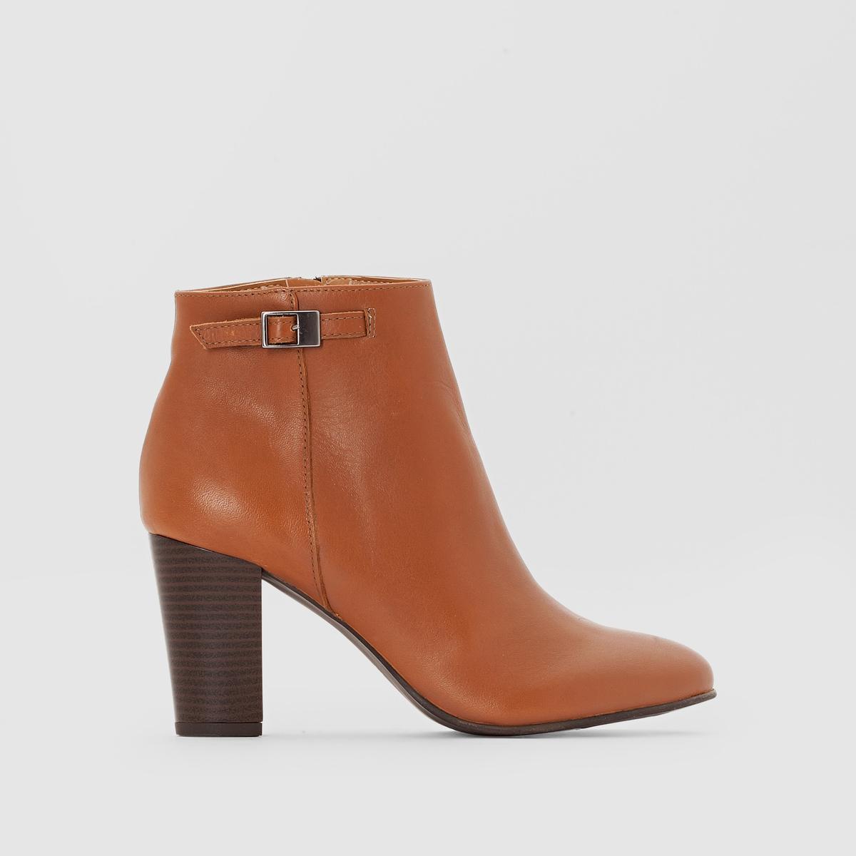 Ботильоны кожаные на молнии и каблуке цены онлайн