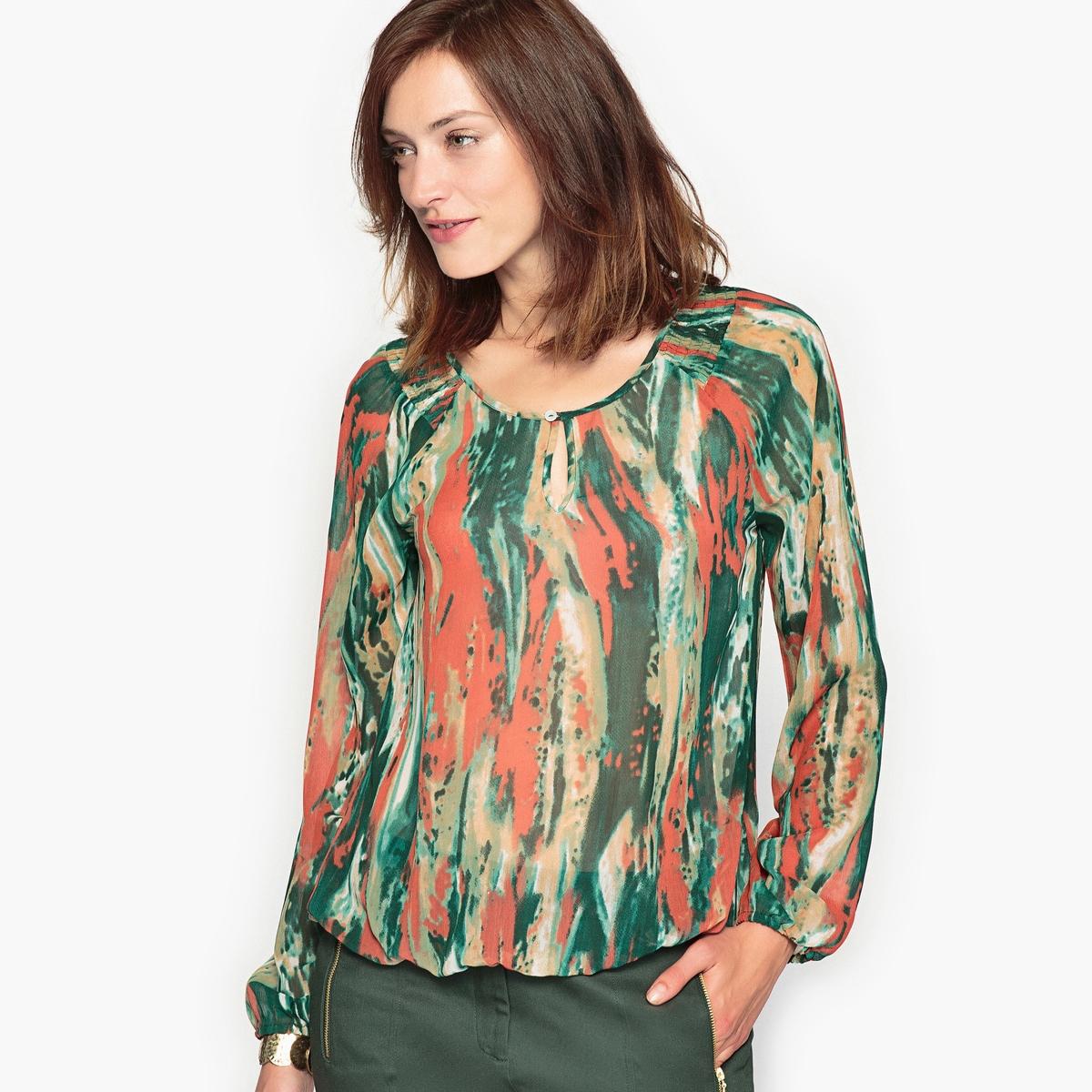 Блузка с рисунком, из жатого крепа футболка с рисунком из жатого джерси