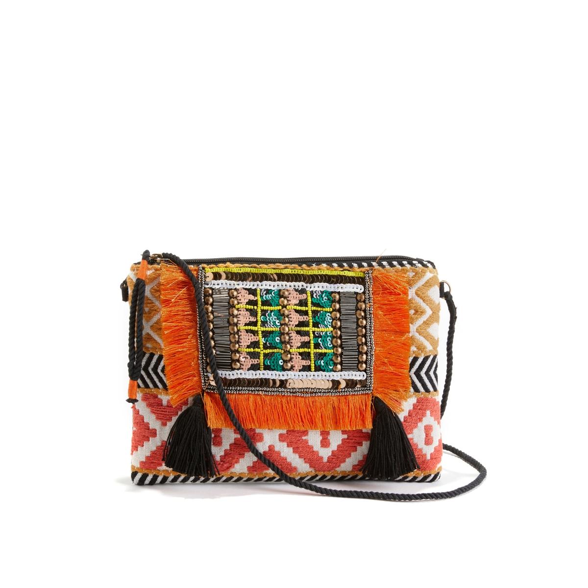 Сумка с ручками в этническом стиле, форма клатчаОписание:Замечательная сумка с красивой цветной вышивкой : можно сочетать с элегантным нарядом или обычными джинсами.  Состав и описание : •  Внешний материал : 100% полиэстера •  Подкладка : 100% полиэстера •  Размер  : Д26 x В19 см •  Застежка : молния •  Внутренние карманы : 1 карман для мобильного телефона •  Несъемный и нерегулируемый наплечный ремень •  Носить : на плече или в руке<br><br>Цвет: разноцветный<br>Размер: единый размер