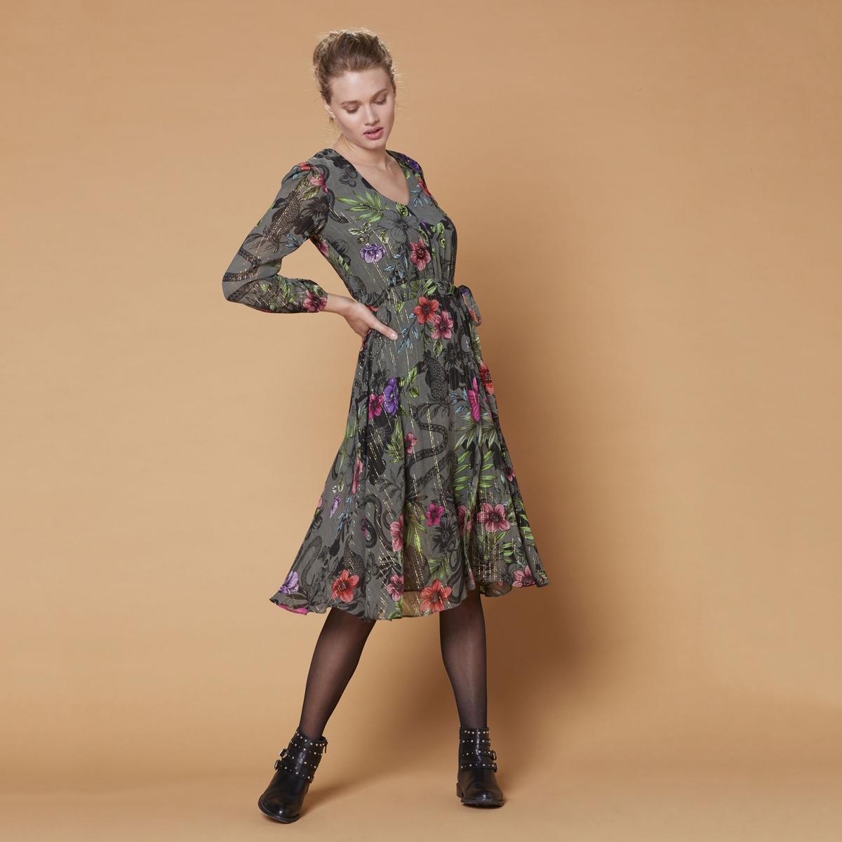 цена Платье La Redoute Длиной до колен расклешенное с цветочным рисунком и V-образным вырезом L зеленый онлайн в 2017 году