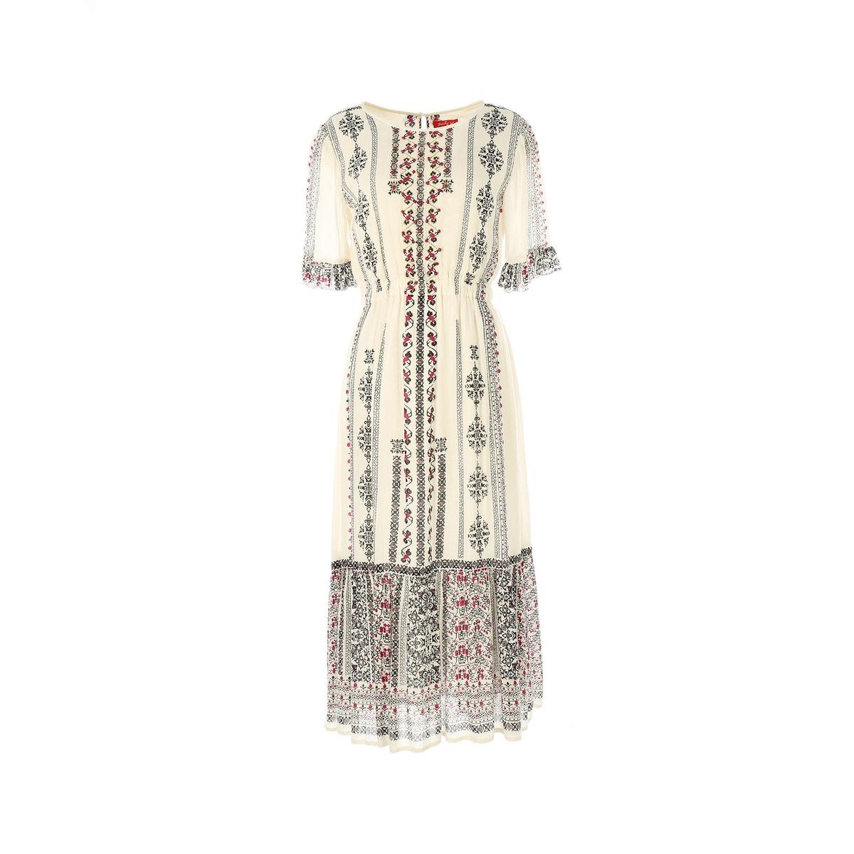 Платье с короткими рукавамиМатериал : 100% вискоза  Длина рукава : короткие рукава  Форма воротника : круглый вырез Покрой платья : платье прямого покроя    Рисунок : принт   Длина платья : до колен<br><br>Цвет: рисунок/экрю<br>Размер: M