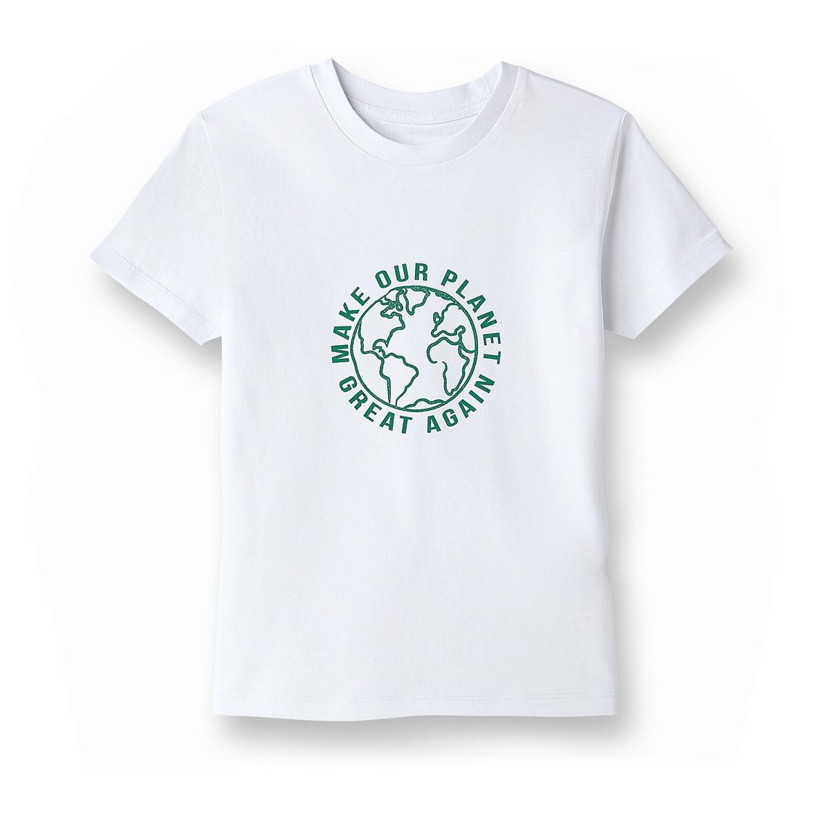 Футболка с надписью из биохлопка, 5-14 летФутболка La Redoute Collections совместно с Envol'Vert. Круглый вырез. Короткие рукава. НадписьСделаем снова нашу планету замечательной спереди.За каждую проданную футболку La Redoute перечисляет 1€ Envol'Vert. Собранная сумма позволит участвовать в проекте озеленения леса в Колумбии.                                          Более подробно : http://envol-vert.org/projets/restauration-forestiere-et-noyer-maya/                         Состав и описаниеМатериал:100% био-хлопокМарка: La Redoute Collections совместно с Envol'Vert                     Уход:                     Стирать при 30° с изделиями схожих цветов                     Отбеливание запрещено                     Гладить при умеренной температуре                     Сухая (химическая) чистка запрещена                     Машинная сушка запрещена                                          Преимущества : Био-продукт.                     Выращенный без использования пестицидов и химических удобрений био-хлопок изготовлен с заботой о почве, воде и людях, возделывающих его.                     Мы заботимся о сохранении окружающей среды и здоровья людей.<br><br>Цвет: белый<br>Размер: 12/14 лет.7/8 лет- 120/126 см