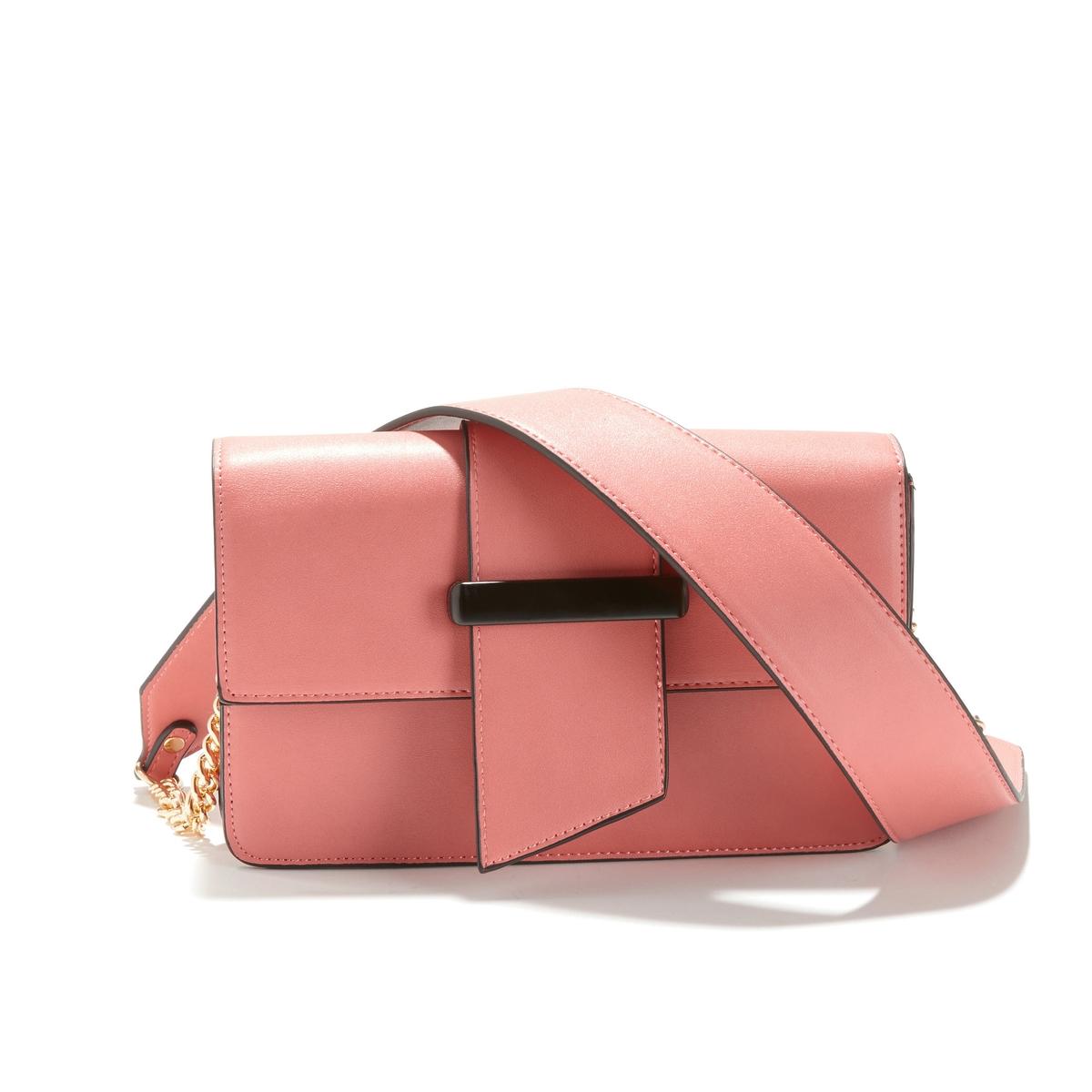 Сумка La Redoute С ручками с клапаном UNI розовый сумка клатч la redoute с помпонами uni черный