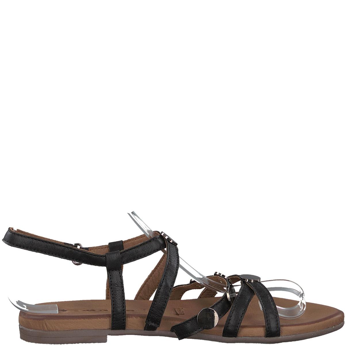 Сандалии кожаные 28138-38Верх : кожа   Подкладка : кожа  Стелька : кожа   Подошва : синтетика   Высота каблука : 1,5 см   Форма каблука : плоский каблук   Мысок : закругленный мысок   Застежка : планка-велкро<br><br>Цвет: черный