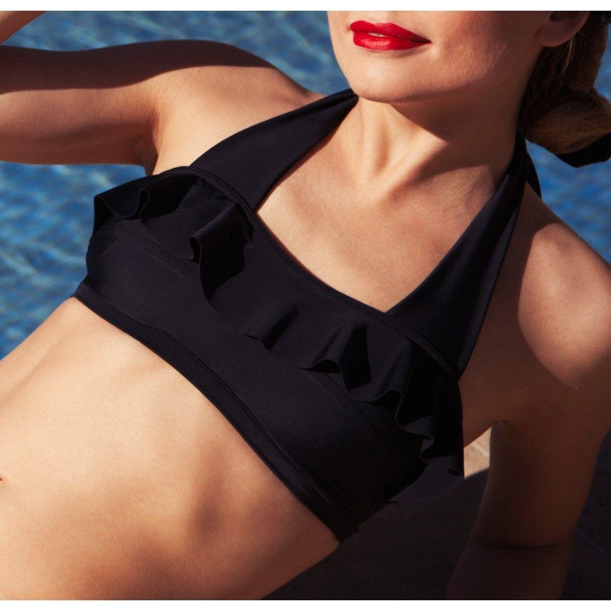 Haut de maillot de bain post opératoire à volant pour prothèses mammaires