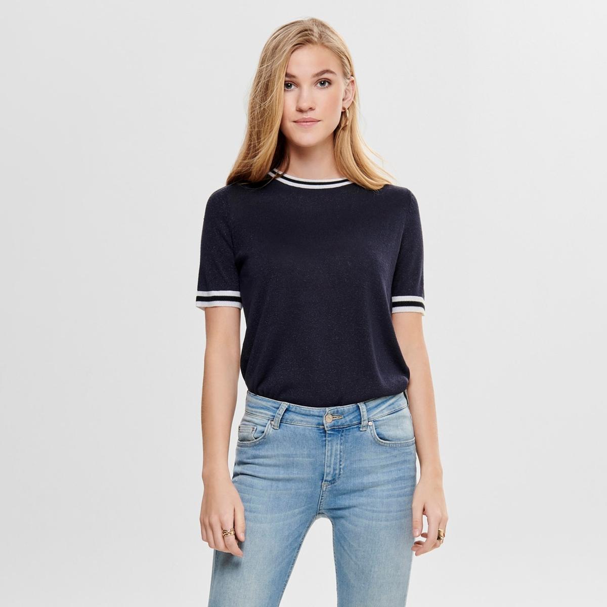 Пуловер La Redoute С круглым вырезом с короткими рукавами с металлическим эффектом XS синий свитшот la redoute с круглым вырезом и вышивкой s черный
