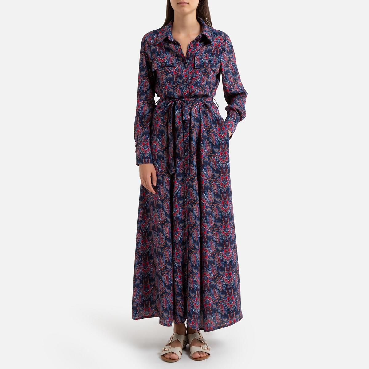 Платье La Redoute Расклешенное с кашемировым принтом длинное ODILE 42 (FR) - 48 (RUS) красный
