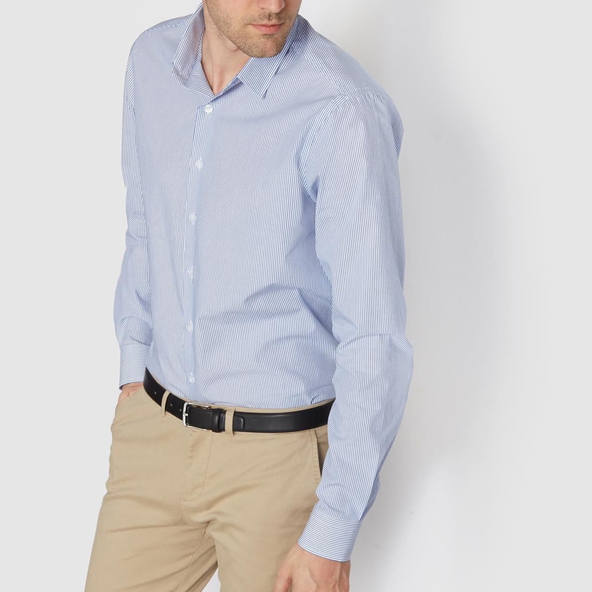 Рубашка прямого покроя в полоску, 100% хлопок