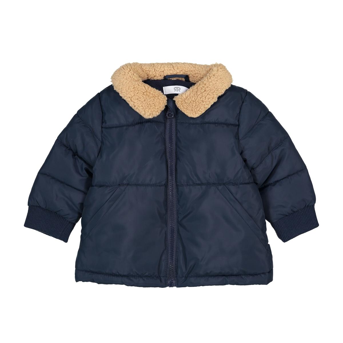 Куртка стеганая с воротником из искусственного меха, 3 мес. - 3 года жакет из велюра на подкладке из искусственного меха