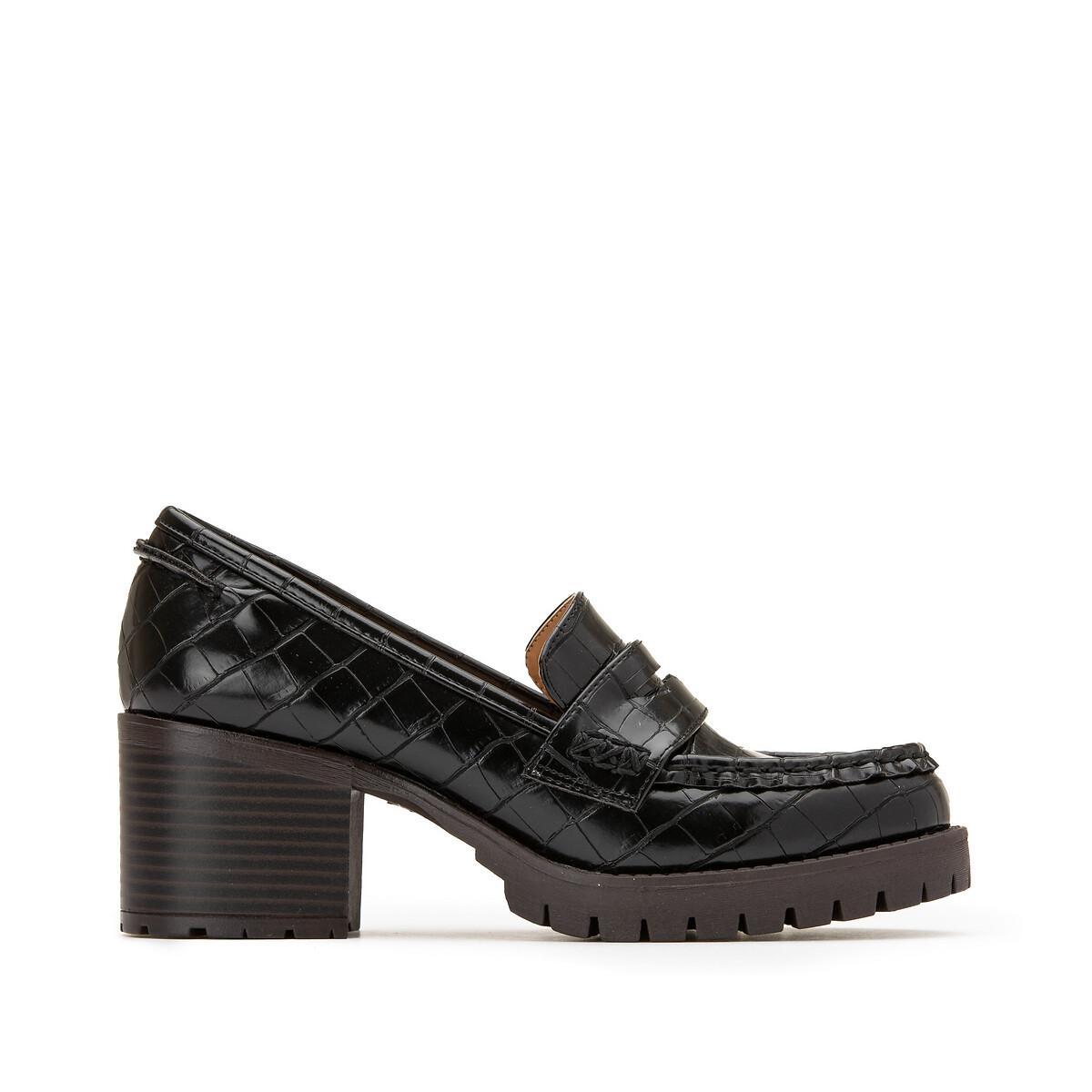 Мокасины LaRedoute С эффектом кожи крокодила на каблуках 36 черный недорого