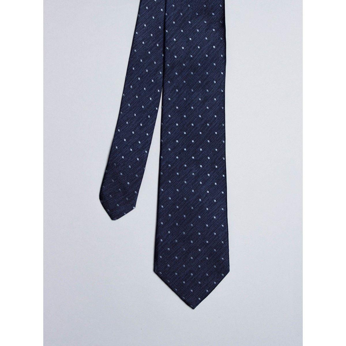Cravate denim avec micro pois bleus