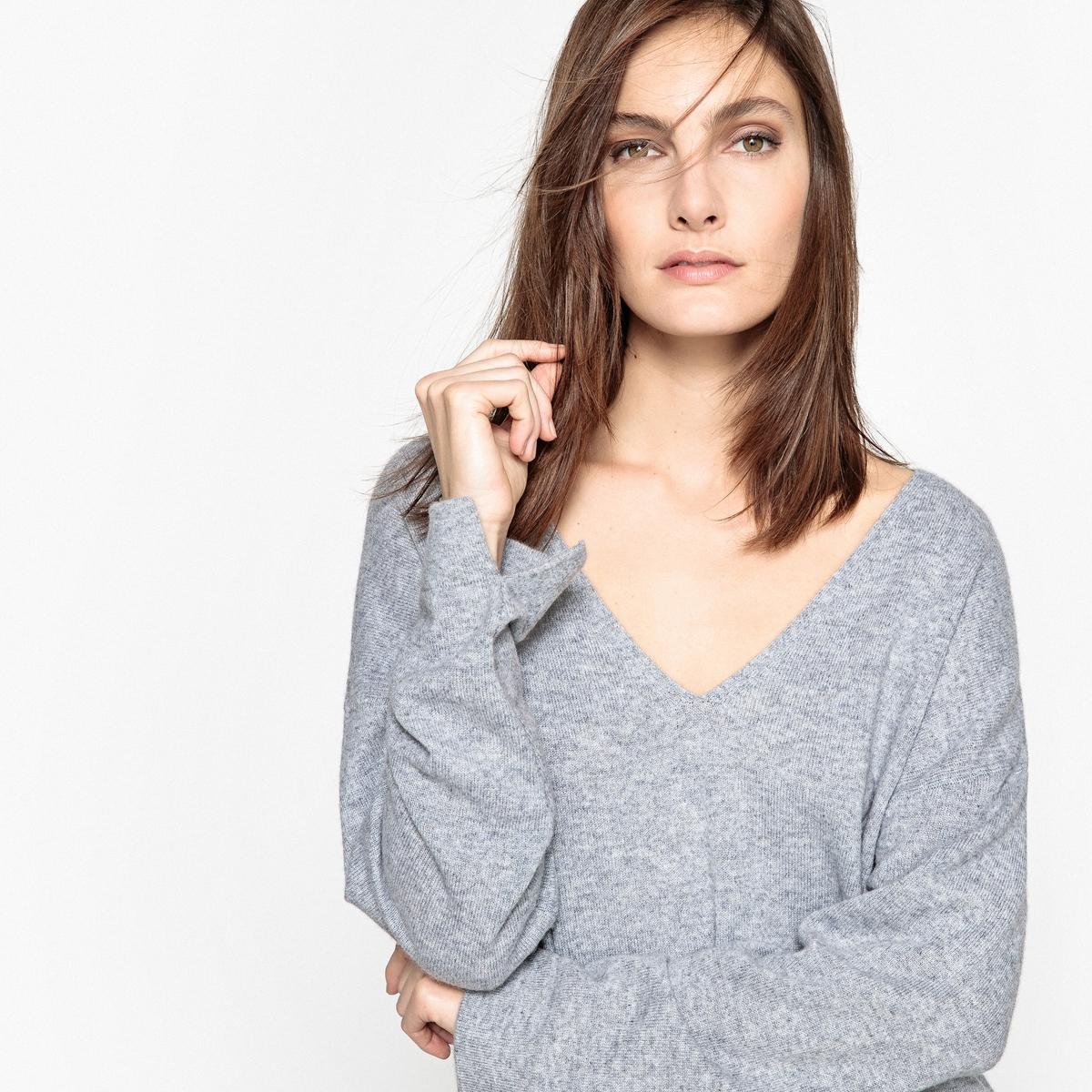 Sweter z dekoltem w szpic, 100% kaszmir