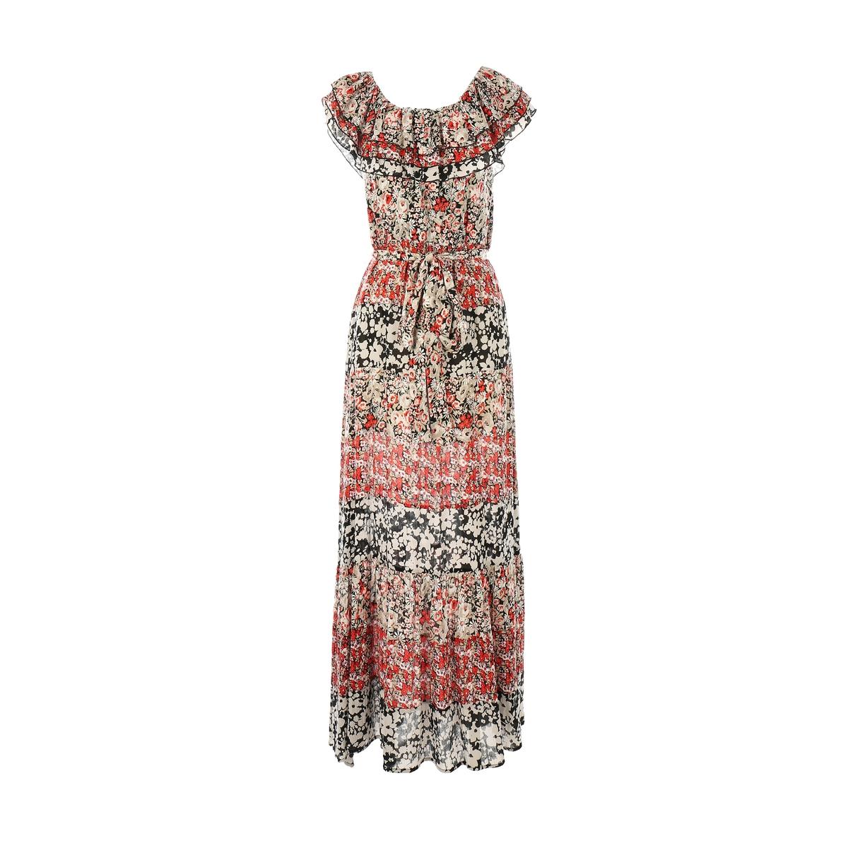Платье длинное, с короткими рукавами, с рисунком