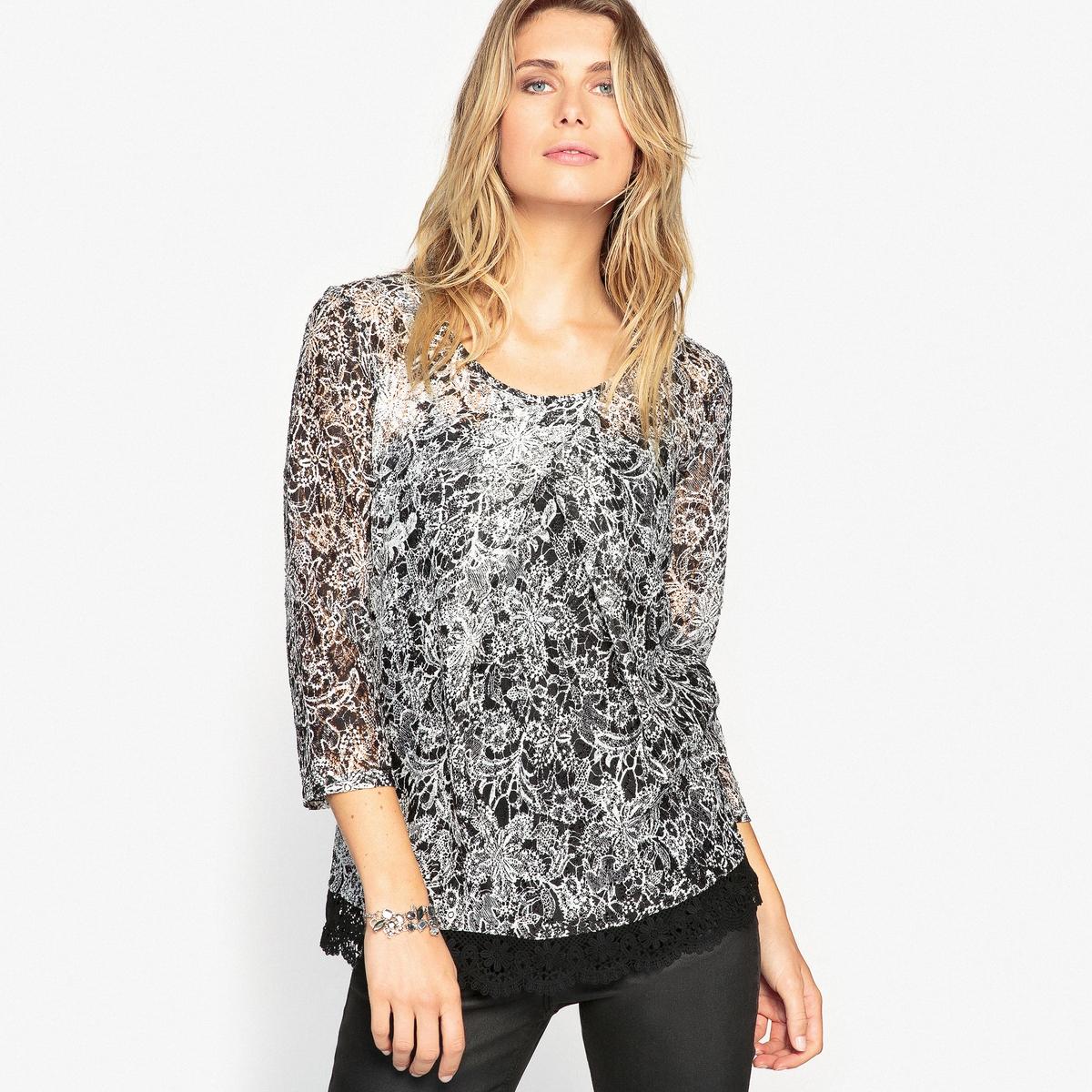 Блузка кружевная с рисункомКружевная блузка с рисунком. Очень женственная модель. Без застежки. Круглый вырез со встречными складками.Описание   •  Рукава 3/4 •  Круглый вырез •  Рисунок-принтСостав и уход   •  2% эластана, 98% полиэстера  •  Температура стирки 30° на деликатном режиме   •  Сухая чистка и отбеливание запрещены •  Не использовать барабанную сушку   •  Низкая температура глажки  Блузка из 100% хлопка снизу с отделкой оригинальным гипюром и фестонами. удлиненная модель. 62 см.<br><br>Цвет: черный/экрю<br>Размер: 50 (FR) - 56 (RUS).40 (FR) - 46 (RUS).46 (FR) - 52 (RUS).42 (FR) - 48 (RUS).52 (FR) - 58 (RUS)