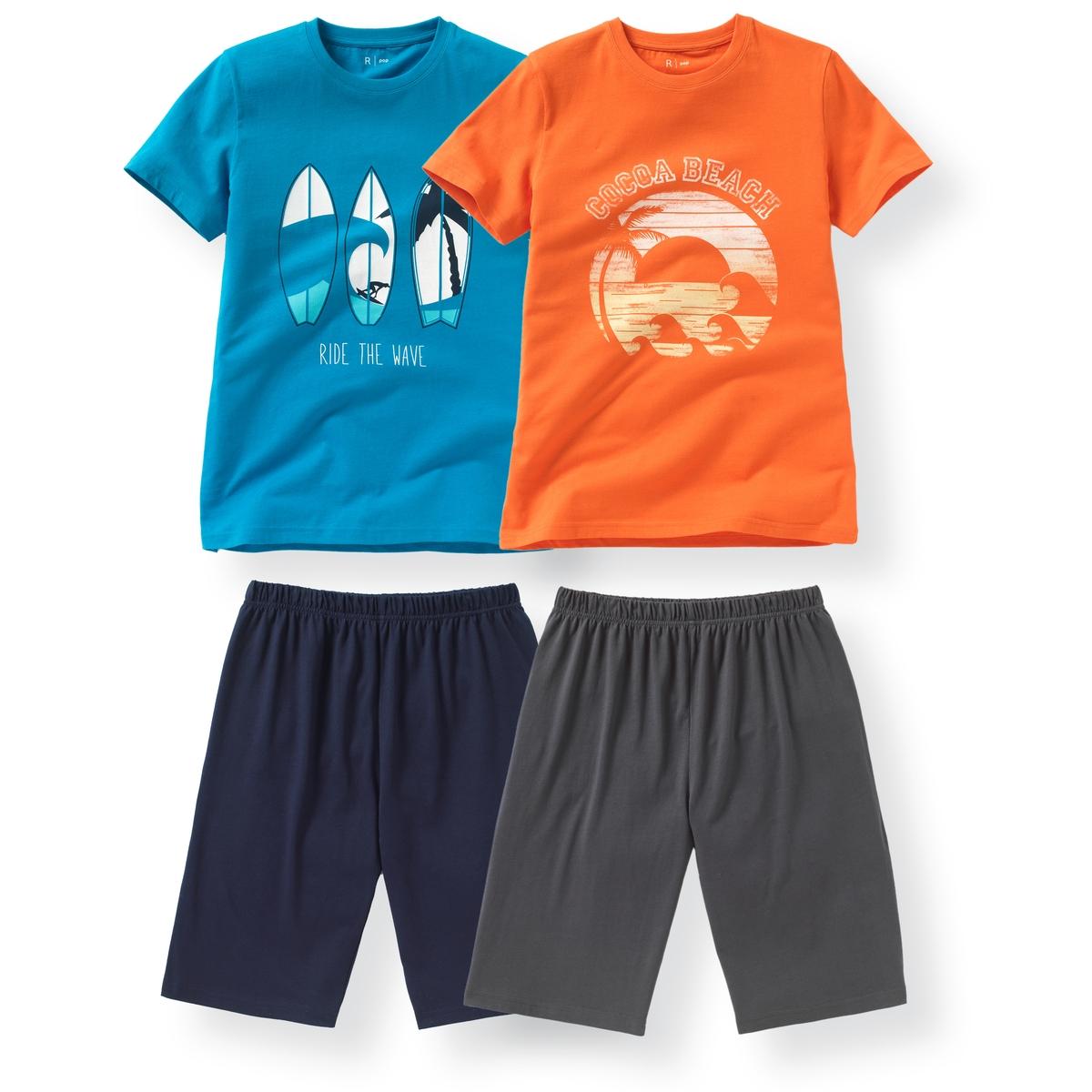 2 пижамы с шортами из хлопка с принтом пляж 10-16 летПижама: футболка с короткими рукавами и шорты.     В комплекте 2 пижамы : Футболки с разным рисунком спереди на каждой из них . Однотонные шорты на эластичном поясе.Состав и описание : Материал       джерси, 100% хлопокМарка       R ?ditionУход :Машинная стирка при 30 °C с вещами схожих цветов.Стирать и гладить с изнаночной стороны.Машинная сушка в умеренном режиме.Гладить при низкой температуре.<br><br>Цвет: синий + оранжевый<br>Размер: 16 лет