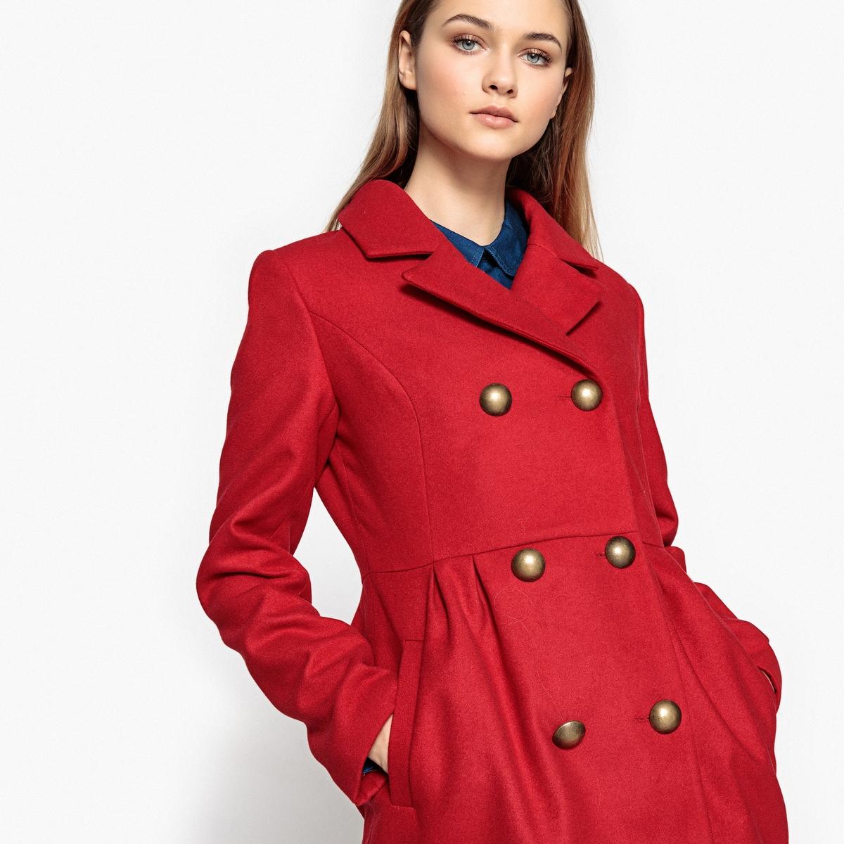 Пальто приталенное с двубортной застежкой на пуговицы