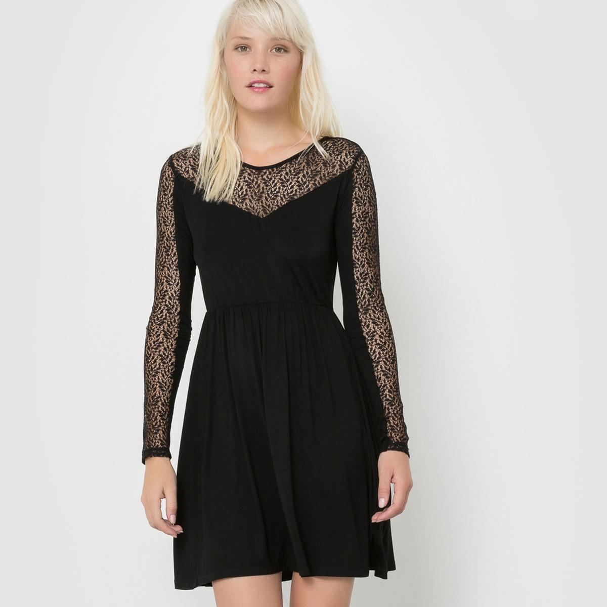 Платье с длинными рукавами из кружева, ROSELYNСостав и описаниеМарка : SCHOOL RAG.Модель : ROSELYNМатериал : 95% вискозы, 5% эластана<br><br>Цвет: черный<br>Размер: S