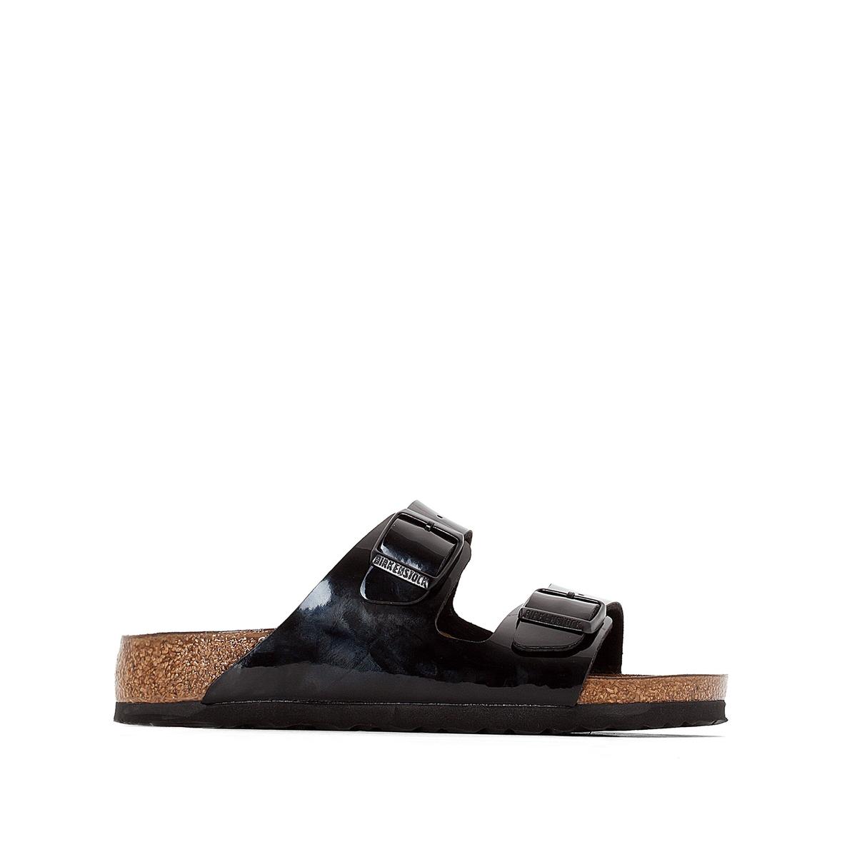 Туфли без задника лакированные ARIZONAВерх : синтетический материал (Birko-Flor)                 Подкладка : фетр               Стелька : велюровая кожа               Подошва : синтетика               Застежка : ЭВА<br><br>Цвет: Черный лак<br>Размер: 39