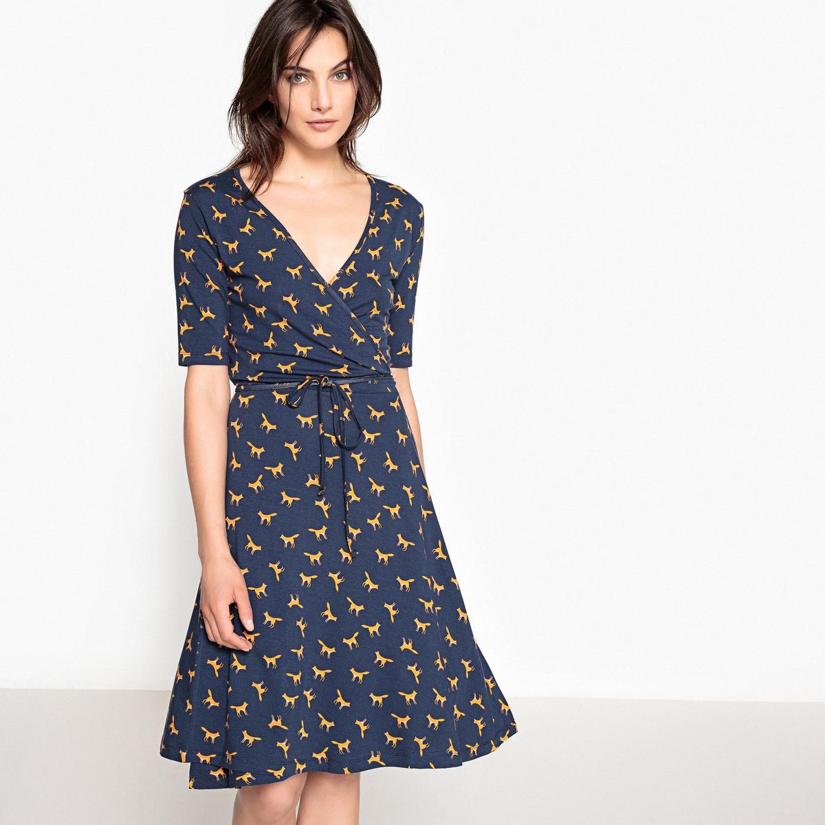 Платье с запахом и рисунком в виде треугольников