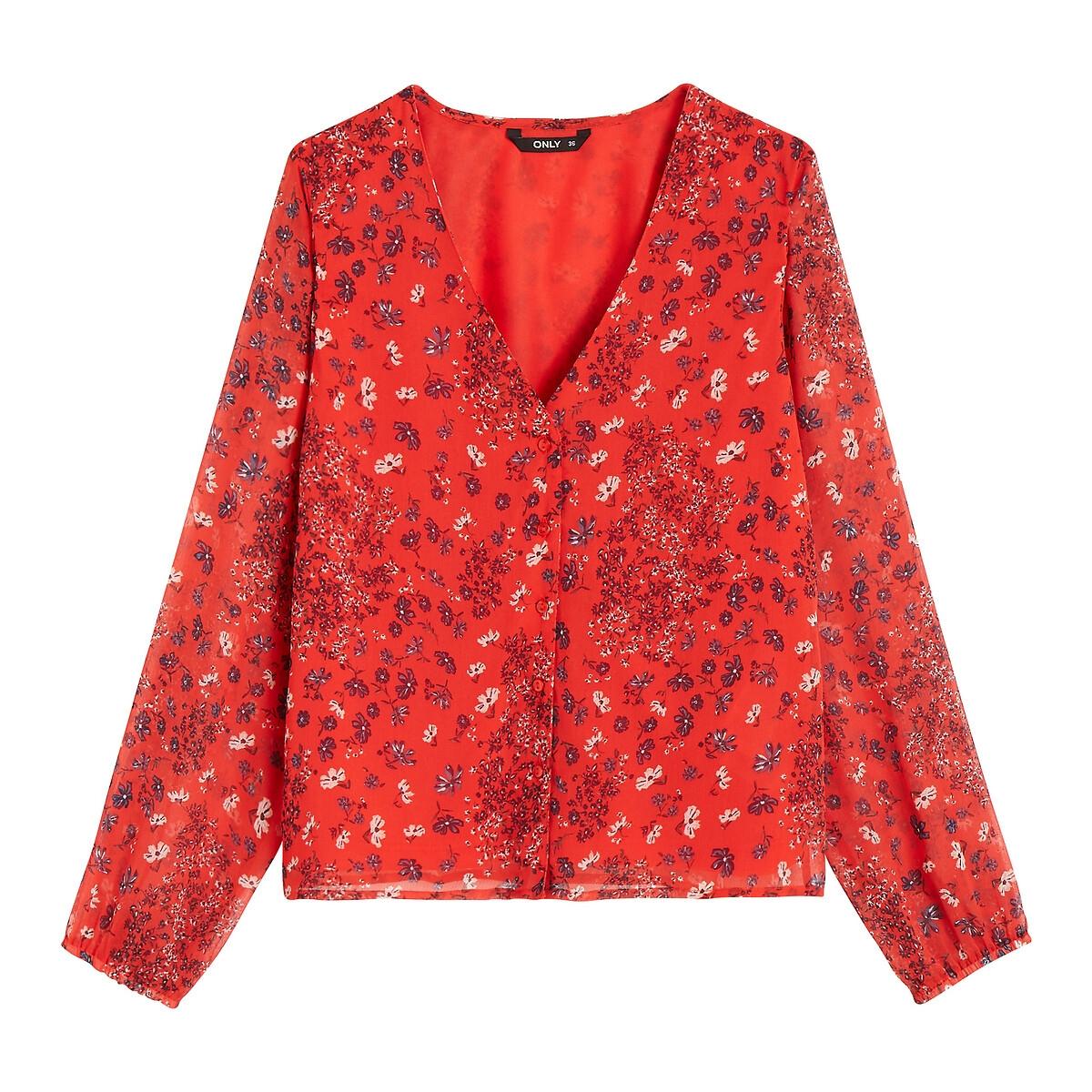Блузка La Redoute Струящаяся с длинными рукавами v-образный вырез 36 (FR) - 42 (RUS) розовый платье la redoute радужное estelle 36 fr 42 rus черный